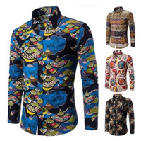 14 Colors Mens Printed Casual Contrast Dress Shirt Button Do...