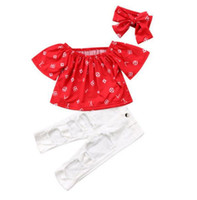 Moda Bebek Kız Giysileri Kısa Kollu Kapalı Omuz Kırmızı Tops + beyaz Kot Delik Pantolon + Yay Bandı 3 ADET Kızlar Giyim Setleri Çocuklar Kıyafetler