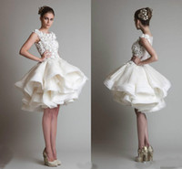 Vintage Lace Applique Short Wedding Dresses Krikor jabotian ...