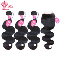 Queen Hair 1pc Lace Closure with 3Pcs Hair Bundle, 4pcs lot, B...
