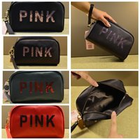 Small Cosmetic Bags Women Pink Travel Makeup Bag Nylon sequi...
