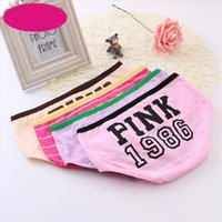 Girl 100% Cotton Striped Panties Women Underwear Pink thong ...