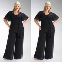 Popular 2020 Taille Plus noire en mousseline de soie manches courtes mère de la mariée Deux Pièces Costumes Pantalons perlée taille Custom Made