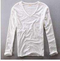 Erkek Üstleri Tee 2018 Yaz Yeni Pamuk Keten V Boyun Uzun Kollu T Gömlek Moda Trendleri Rahat Tişörtleri Siyah Beyaz Giyim Y209
