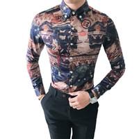 3XL-M Gece Kulübü Gömlek Erkekler Kore Retro Slim Fit Uzun Kollu Smokin Gömlek Sosyal Şık Baskı Parti Elbise Chemise Homme Satış