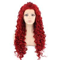 """26 """"extralange # 3100 rote lockige hitzefreundliche synthetische Haarspitzefrontpartyperücke"""