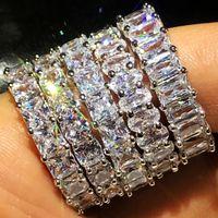Sprankelende Luxe Sieraden 5 Stijl 925 Sterling Silver Clear White Topaz CZ Diamond Party Belofte Vrouwen Wedding Band Ring voor Lovers 'Gift