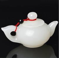 Venda direta da fábrica natural afegão branco jade mão play piece para lidar com pote