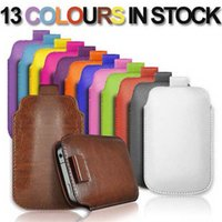 Pull Up Tab Case Leather Rope Sleeve Pouch Cover For Phone 5...