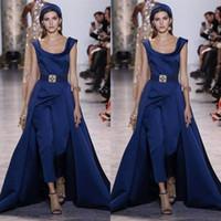2018 Spring Ellie Saab Jumpsuit Dress 분리 가능한 치마 새틴 스윕 트레인 드레스 이브닝 드레스 파티 드레스 플러스 사이즈