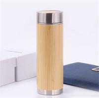 Botella de agua de acero inoxidable Botella de agua de bambú 2018 Shell Botella de viaje de infusión térmica Taza de viaje Taza aislada