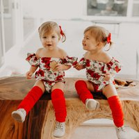 2018 New INS Baby Girls Off Shoulder Romper Red Floral Jumps...