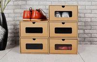 透明なウィンドウが付いているDIYクラフト紙の靴収納ボックス環境折りたたみ式引き出し型の仕上げ箱靴オーガナイザー