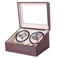 GENBOLI штепсельной вилки США Часы Winders Браун Кожа PU Коллекция Ящик для хранения Часы Дисплей ювелирных изделий автоматические механические Winder Box