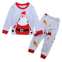 Compras en línea de los niños pijamas de Santa Claus Impreso camisetas Pantalones de cuerpo entero de 2 piezas de ropa del bebé fija algodón Pjs de Navidad 18103001