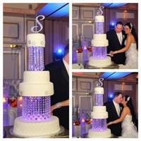 """10"""" Round Luxo acrílico cristal Vertentes 2 camadas suporte bolo de casamento de Decoração do partido"""