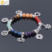 CSJA Heißer Verkauf 8mm 7 Chakra Armband Healing Balance Energie Perlen Gebet Naturstein Yoga Charme Strang Armbänder für Frauen Schmuck E996