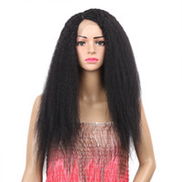 24inch 긴 변태 스트레이트 가발 내열성 합성 레이스 프론트 가발 여성용 사이드 가발 Black Wig
