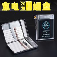 SUPPORTAIRE VENDU BOÎTE DE CIGRAETTES DE TOBACCO TOBAC CIGRACKETTES EN STATEUR INOXYDABLE STABLES EN ACIER INOXURABLE MANUELLE DU MÉTAL Etui à cigarettes avec briquet USB rechargeable