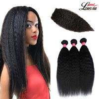 Peruvian Kinky Straight Hair Weave Bundles With Closure 100%...