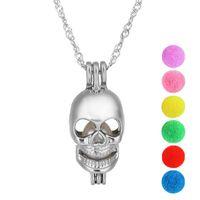 Pearl Cage Skull Jewelry Locket Colgante Hallazgos Cage Essential Oil Difusor Locket Para Oyster Pearl Fibre Ball