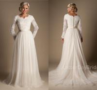 A-line Perlen Spitze Tüll bescheidenen Brautkleider mit langen Ärmeln überbacken Halsknöpfe bis zurück voller Ärmel lange Land Brautkleider