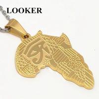 LOOKER Африка ожерелье золотой цвет кулон цепь Африканская карта хип-хоп подарок для мужчин / женщин эфиопские ювелирные изделия модные Оптовая
