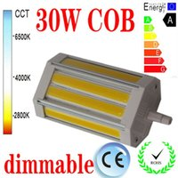 Free shipping 30W dimmable R7S led light 118mm NO Fan COB le...