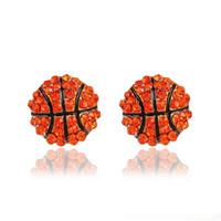 Мода спортивные соревнования мяч серьги Кристалл горный хрусталь Баскетбол Бейсбол регби софтбол волейбол серьги для женщин ювелирные изделия
