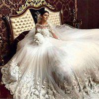Frisada do laço do casamento Vestidos Flores 3D Romântico Sheer colher mangas compridas Vintage apliques vestido de noiva vitoriana