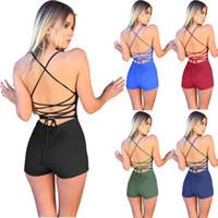 Женщины комбинезоны спинки ремни комбинезоны новый сексуальный V-образным вырезом холтер комбинезон мода 6 сплошной цвет шорты женская одежда xl 811