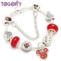 TOGORY Red Crystal Beads Charm Bracelets & Bangles Silver Co...