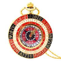 Retro-Taschen-Uhr Tai Chi chinesischen Stil Feng Shui-Maskottchen-Taschen-Uhr Große Halsketten-Anhänger-Strickjacke-Kette Uhr