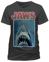 Official Jaws Vintage Poster T Shirt Dark Charcoal Classic R...