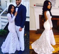 White Jewel Neck Prom Dresses Lace Applique Long Sleeve Swee...