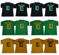 2018 2019 NCAA 10 Justin Herbert Jersey Mann Oregon Enten College Football Trikots Uniform Home Grün Schwarz Gelb Farbe Atmungsaktiv