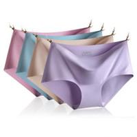 4 Piezas de una bolsa de bragas de las mujeres originales ultrafinas mujeres sin costura sin traces de algodón ropa interior sexy bragas bragas calzoncillos Candiy colores CC