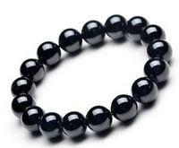 Venda quente natural preto pulseiras de obsidiana bangle preto pedra natureza contas de cristal pulseiras para homens mulheres moda jóias
