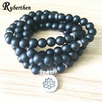 SN1382 New Design Women`s Matte Black Onyx 108 Mala Beads Br...