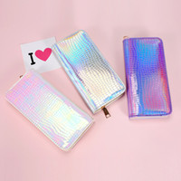 50pcs Women Mermaid Laser Pure Long Wallet 3colors Waterproo...