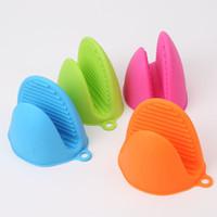 Silikon Isolierte Handschuhe Küche Werkzeug Hitzebeständige Handschuh Ofen Topflappen BBQ Backen Kochen Mitts Anti Slip Finger Griff Mund Zähne Form
