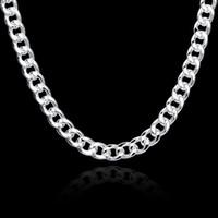 2018 10 MM Gümüş kaplama Kolye zinciri moda Düz figaro zincirleri erkekler için Twisted halat zincir charms takı Kare toka Yüksek kalite N011
