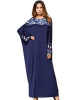 Повседневная мусульманин макси платье печати Абая длинные халат платья Batwing рукавом свободный стиль Ближний Восток Марокканский арабский IDubai slamic Женская одежда