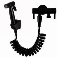 matte schwarz Farbe Eckventil mit WC Hand Bidet Dusche und schwarz Farbe Duschschlauch Dusche Shattaf Bidet Spray Douche Kit Jet BD369