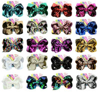 20 Colors mixed Jojo bow 8 inch Two- sided Flipping Sequins C...