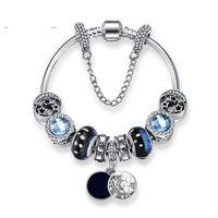 Nuovi Braccialetti Con ciondoli Blu Cielo Borda Il braccialetto 925 Braccialetti d'argento retro vento nazionale stella smalto perline luna gioielli FAI DA TE