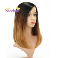 Hot Fashion Long Ombre Black Brown Natural Recta peluca de fibra de alta temperatura para las mujeres Cosplay Pelucas