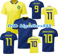 71fa64b28 TOP QUALITY 2018 World Cup Sweden home yellow Soccer jersey LARSSON  LJUNGBERG IBRAHIMOVIC KALLSTROM 18 19 Sweden away Football shirts