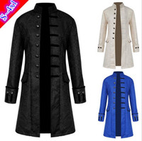Plus size S ~ 4XL vintage medievale punk windcoat uomo lungo jacquard duca uomini stand collare dresscoat festa a tema costume di halloween cosplay