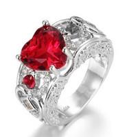 Mode prinses hartvormige robijn ring bruiloft diamant ringen 7 kleuren